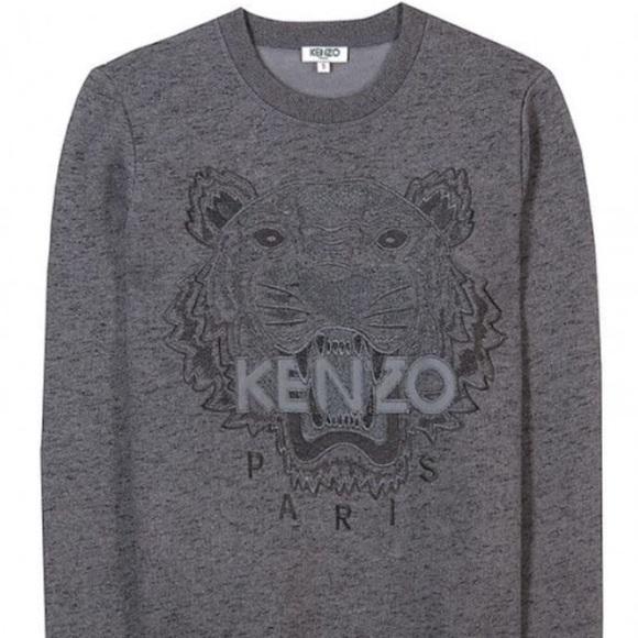 b69767ee0b4 Kenzo Tiger Embroidered Grey Marled Sweatshirt